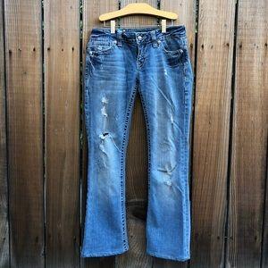 Miss Me boot cut blue denim jeans bejeweled 27 S